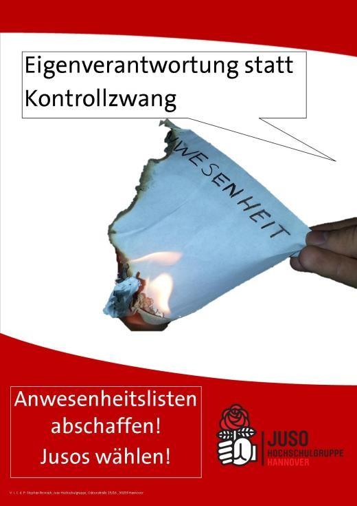 Plakat-Anwesenheitsliste